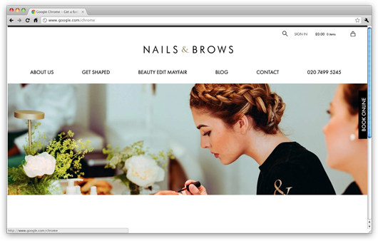 Nails & Brows Website in browser